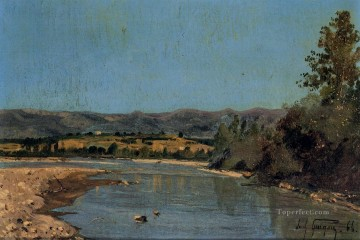 Landscapes Painting - The Banks of the Durance at Puivert scenery Paul Camille Guigou Landscape