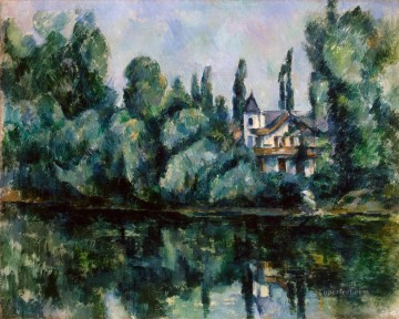 Lake Pond Waterfall Painting - The Banks of the Marne Paul Cezanne Landscape