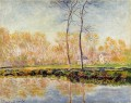 The Banks of the River Epte at Giverny 莫奈 风景画