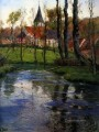 The Old Church by the River impressionism Norwegian landscape Frits Thaulow
