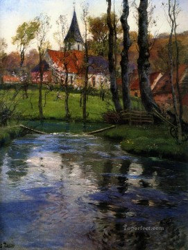 Lake Pond Waterfall Painting - The Old Church by the River impressionism Norwegian landscape Frits Thaulow