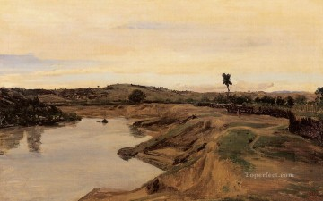 Lake Pond Waterfall Painting - The Poussin Promenade aka Roman Campagna Jean Baptiste Camille Corot