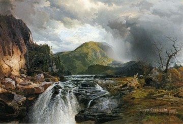 Lake Pond Waterfall Painting - The Wilds of Lake Superior landscape Thomas Moran
