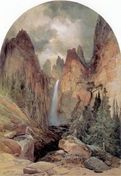 Lake Pond Waterfall Painting - Tower Falls landscape Thomas Moran