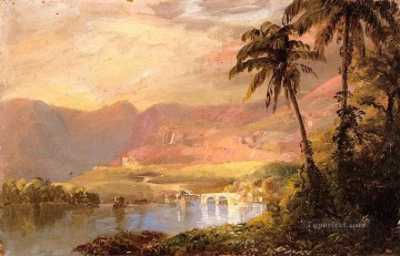 Lake Pond Waterfall Painting - Tropical Landscape scenery Hudson River Frederic Edwin Church