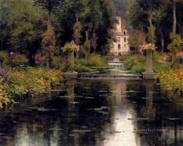Lake Pond Waterfall Painting - View Of A Chateaux landscape Louis Aston Knight