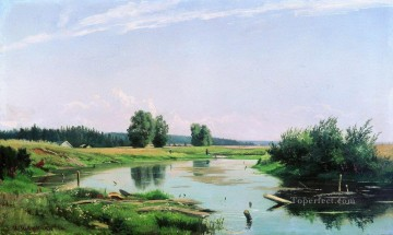 landscape with lake 1886 Ivan Ivanovich green Oil Paintings