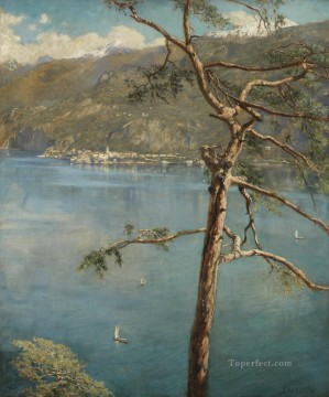 spring at cadenabbia John Collier lake landscape Oil Paintings