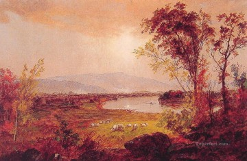 Lake Pond Waterfall Painting - A Bend in the River landscape Jasper Francis Cropsey