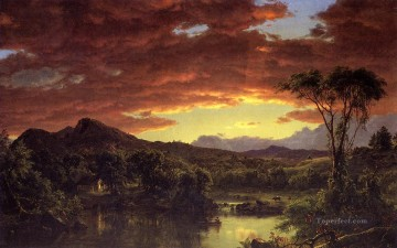 Landscapes Painting - A Country Home scenery Hudson River Frederic Edwin Church Landscape