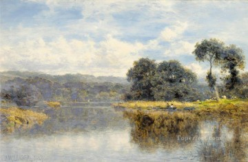 Lake Pond Waterfall Painting - A Fine Day on the Thames landscape Benjamin Williams Leader