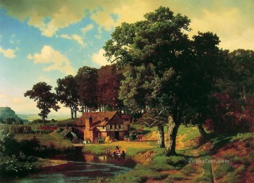 A Rustic Mill Albert Bierstadt Landscape Oil Paintings