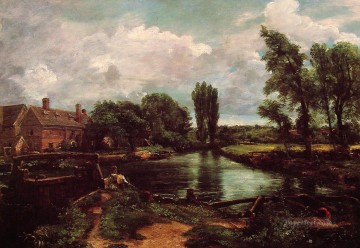 Lake Pond Waterfall Painting - A WaterMill Romantic landscape John Constable