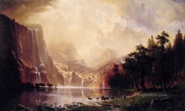mountains Canvas - Among the Sierra Nevada Mountains Albert Bierstadt Landscape
