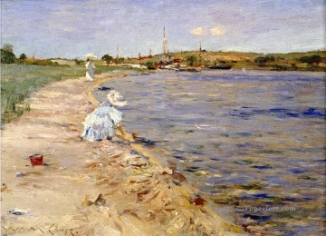 Beach Scene Morning at Canoe Place impressionism William Merritt Chase Landscape Oil Paintings