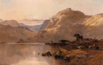 Lake Pond Waterfall Painting - Crafnant North Wales landscape Alfred de Breanski Snr