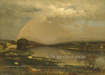 Lake Pond Waterfall Painting - Delaware Water Gap landscape Tonalist George Inness