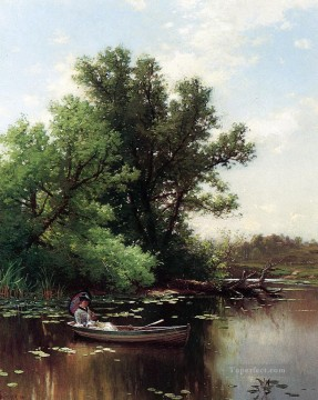 Lake Pond Waterfall Painting - Drifting Alfred Thompson Bricher