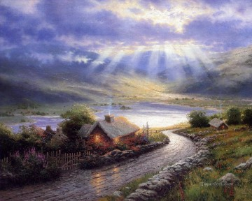 Lake Pond Waterfall Painting - Emerald Isle Cottage Thomas Kinkade Landscape