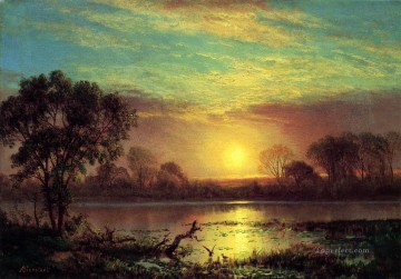 Lake Pond Waterfall Painting - Evening Owens Lake California Albert Bierstadt Landscape