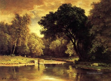 Lake Pond Waterfall Painting - Fisherman in a Stream landscape Tonalist George Inness