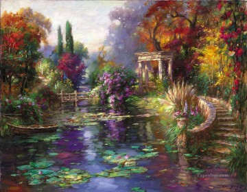 Lake Pond Waterfall Painting - Garden Pond