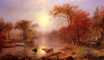 Indian Summer Hudson River Albert Bierstadt Landscape Oil Paintings