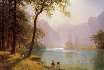 Lake Pond Waterfall Painting - Kerns River Valley California Albert Bierstadt Landscape