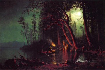 Lake Tahoe Spearing Fish by Torchlight Albert Bierstadt Landscape Oil Paintings