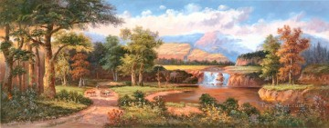 cattle bull cow Painting - Landscape Waterfall Scenery Cattle Cowherd 0 983 lake landscape