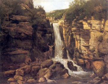 landscape Painting - Landscape with Stag waterfall landscape Gustave Courbet