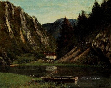 Lake Pond Waterfall Painting - Les Doubs A La Maison Monsieur landscape Gustave Courbet