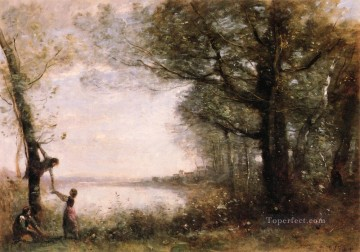 Lake Pond Waterfall Painting - Les Petits Denicheurs Jean Baptiste Camille Corot