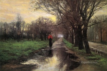 Indiana Painting - Meridian Street Thawing Weather Impressionist Indiana landscapes Theodore Clement Steele Landscape