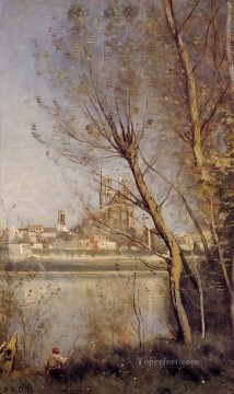 Lake Pond Waterfall Painting - Nantes the Cathedral and the City Seen throuth the Trees Jean Baptiste Camille Corot
