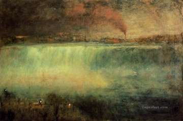 Lake Pond Waterfall Painting - Niagara landscape Tonalist George Inness