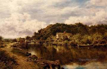 Lake Pond Waterfall Painting - On The Stour Near Flatford Mill Suffolk landscape Benjamin Williams Leader
