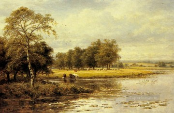 Lake Pond Waterfall Painting - On The Thames landscape Benjamin Williams Leader