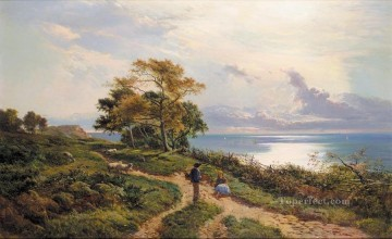 Lake Pond Waterfall Painting - Overlooking the Bay landscape Sidney Richard Percy