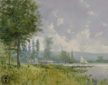 Lake Pond Waterfall Painting - Sailing Day Thomas Kinkade Landscape
