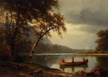 Bierstadt Oil Painting - Salmon Fishing on the Cascapediac River Albert Bierstadt Landscape