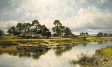Lake Pond Waterfall Painting - Severn Side Sabrinas Stream at Kempsey on the River Severn landscape Benjamin Williams Leader Landscape