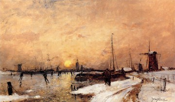 Skaters at Dordrecht impressionism Johan Barthold Jongkind Landscape Oil Paintings