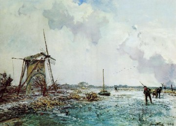 Skaters in Holland2 impressionism ship seascape Johan Barthold Jongkind Landscape Oil Paintings