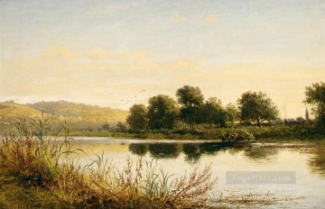 Lake Pond Waterfall Painting - Streatley on Thames landscape Benjamin Williams Leader