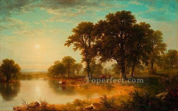 Lake Pond Waterfall Painting - Summer Afternoon landscape Asher Brown Durand