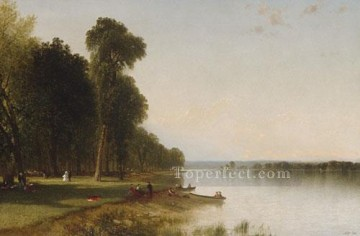 Lake Pond Waterfall Painting - Summer Day On Conesus Lake scenery John Frederick Kensett Landscape