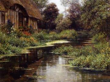 Lake Pond Waterfall Painting - Summer afternoon normandy landscape Louis Aston Knight