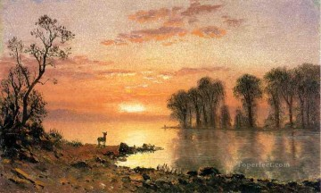 Albert Works - Sunset Albert Bierstadt Landscape