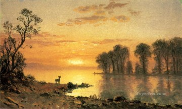 Lake Pond Waterfall Painting - Sunset Deer and River Albert Bierstadt Landscape